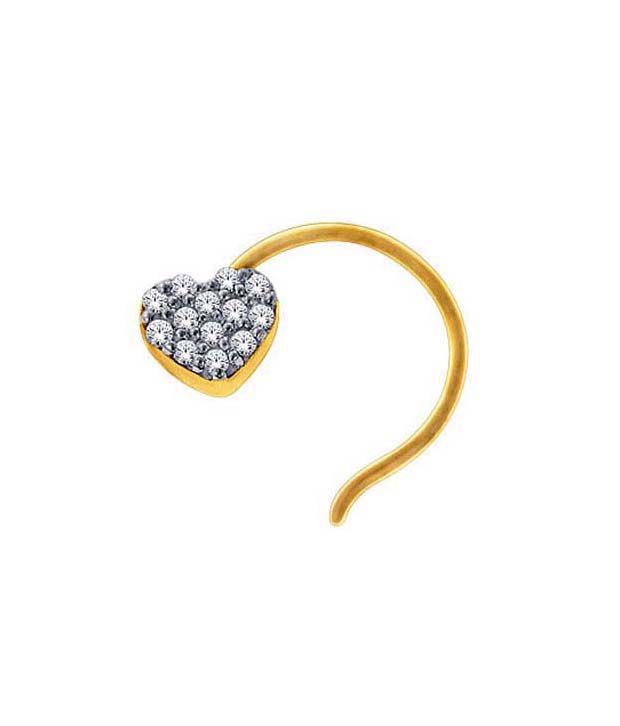 Avsar Gold & Diamond Sparkling Heart Nosering
