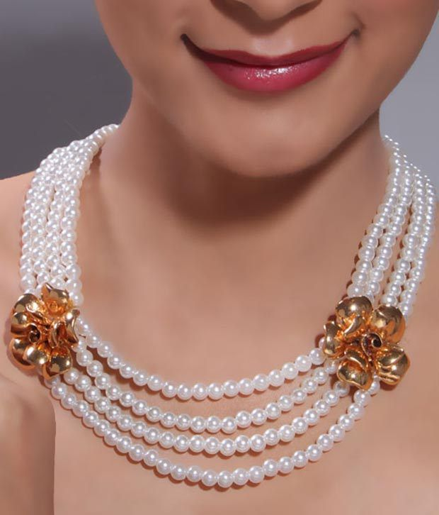 Bansri Elegant Pearl & Gold Necklace