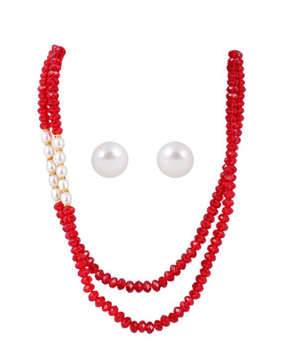 Deccan Red & White Necklace Set
