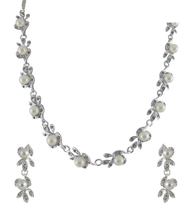 Sri Jagdamba Pearls CZ Pearl Necklace Set