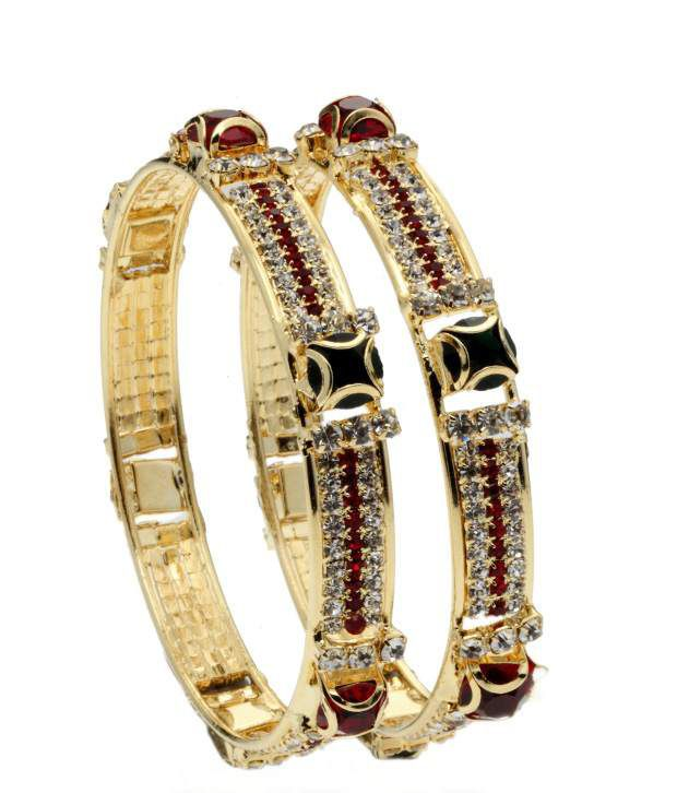 Favola Magnificent Crystal Bangle Set Of Two