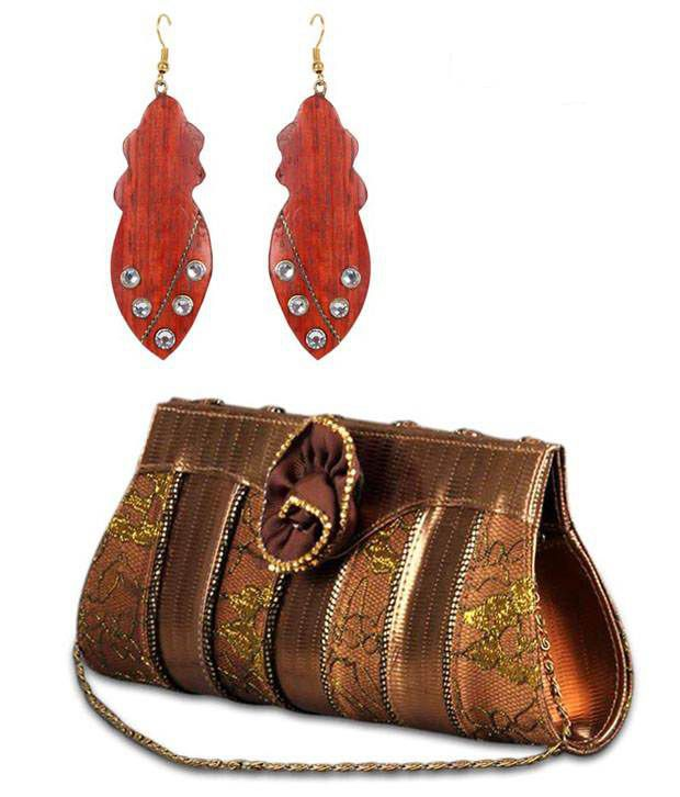 Favola Wooden Leaf Earrings And Broach Clutch Combo