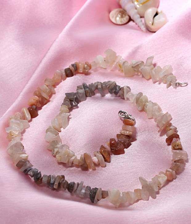 Freak Semiprecious Light Pink Moonstones Necklace