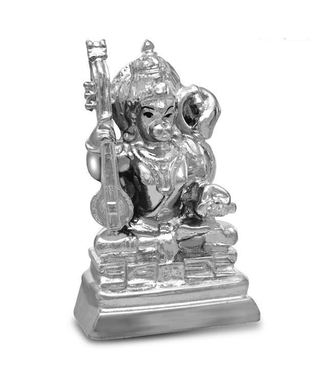 Ilina Exclusive Silver Plated Lord Hanuman Idol