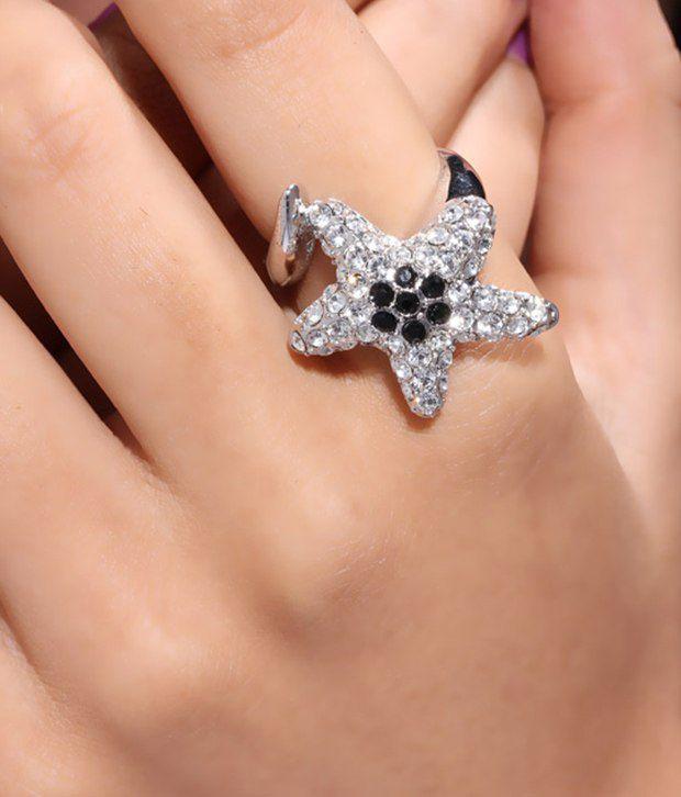Jazz Silver Crystal Star Ring