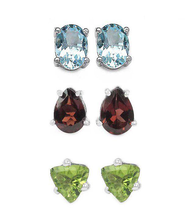 Johareez Peridot, Garnet & Topaz Silver Earrings Combo