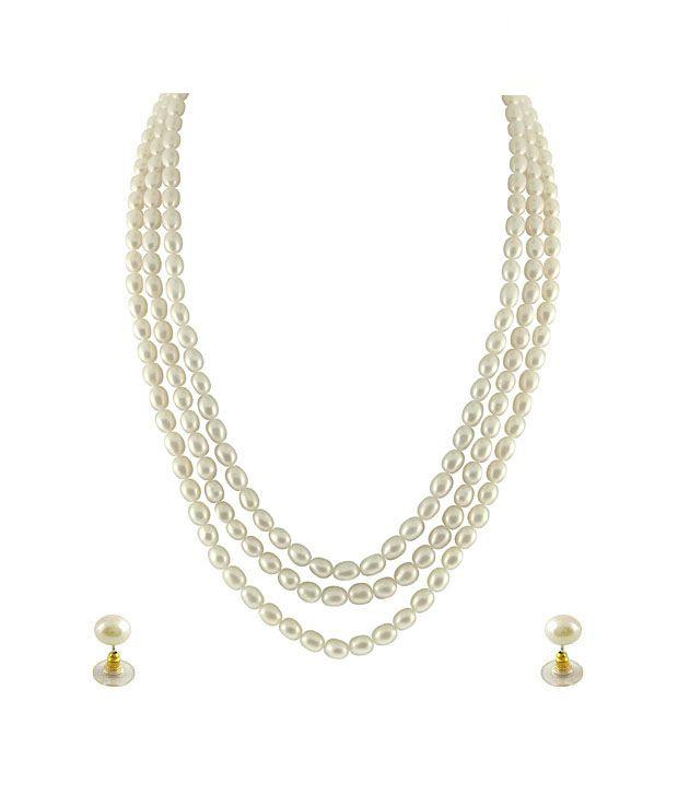 Sri Jagdamba Pearls 3 String Oval Pearl Necklace