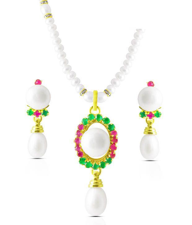 Sri Jagdamba Pearls CZ & Pearl Studded Pretty Necklace Set