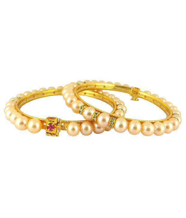 Sri Jagdamba Pearls Ethereal Pearls & CZ Bangle Pair