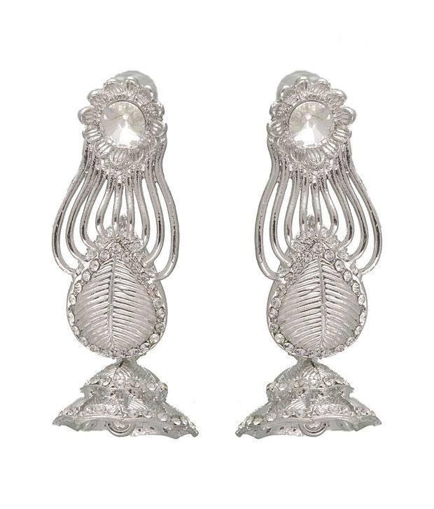 Kriaa Beautiful White Stone Earrings