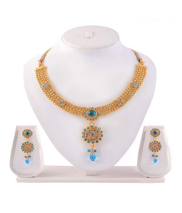 Kriaa Festive Turquoise Drop Necklace Set With Maang Tika