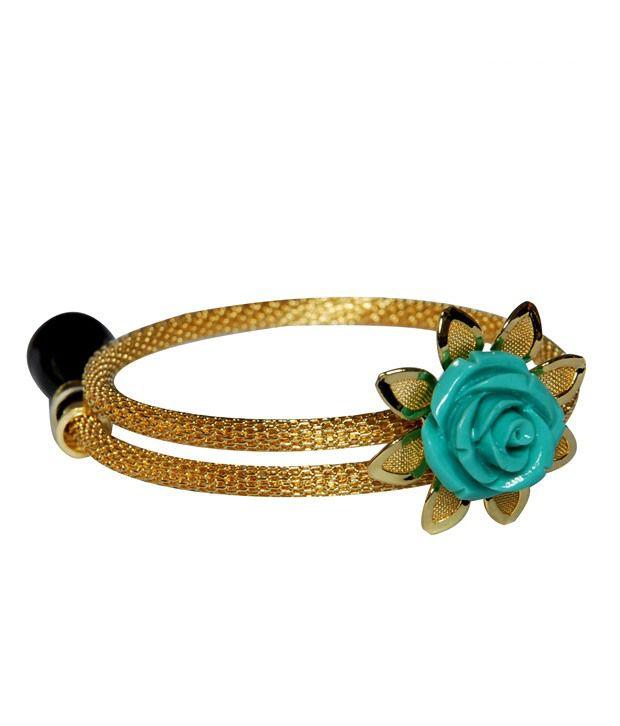 Niharikaa Blue Coral Rose Bracelet