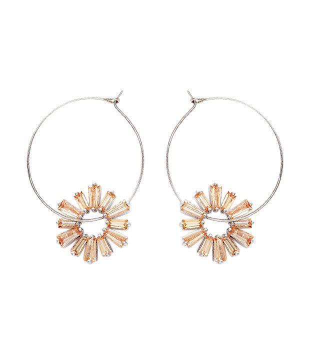 Opaleena Orange Topaz Crystal Hoops