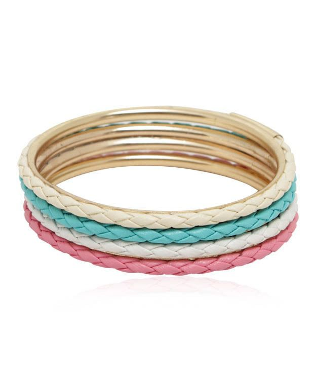 Pari Matt Finish Suede Leather Set Of Four Adorable Bangles