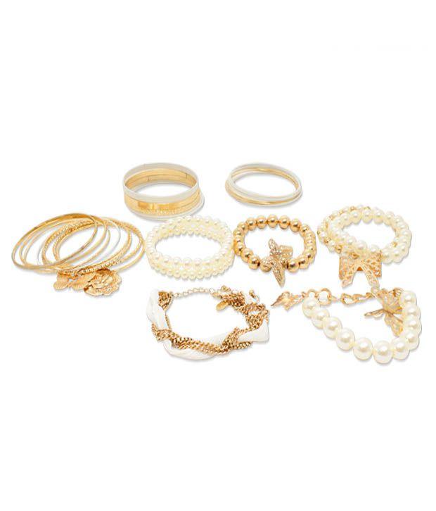Pari Pearl Laden Dainty 14 Pieces of Bangles & Bracelets