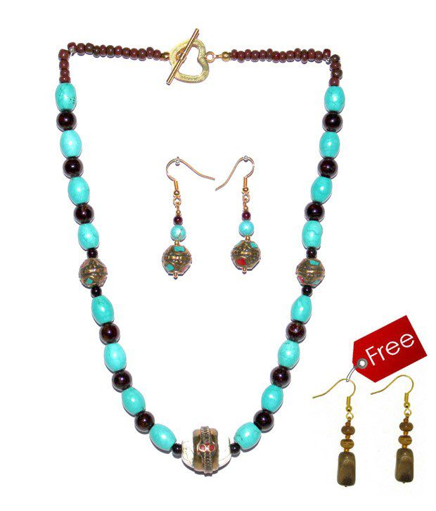 Piebee Blue & Brown Necklace Set With Free Earrings