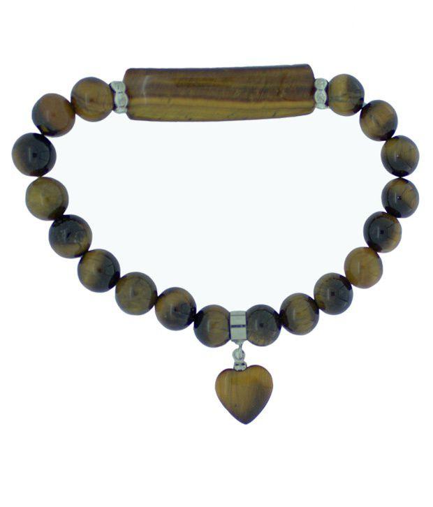 Piebee Tiger's Eye Heart Charm Bracelet