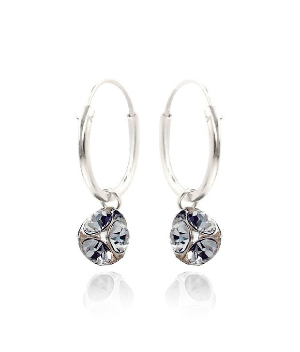 Revlis White Crystal Bali Style Earrings