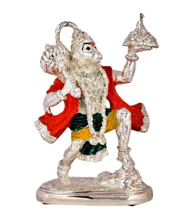 Shanti Sacred Hanuman Silver Coated Idol