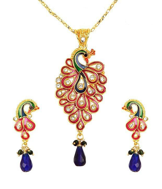 Sharnam Art Dazzling Peacock Necklace Set