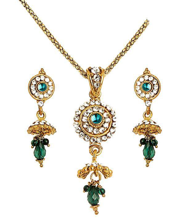 Sharnam Arts Dazzling Green & Golden Paisley Necklace Set