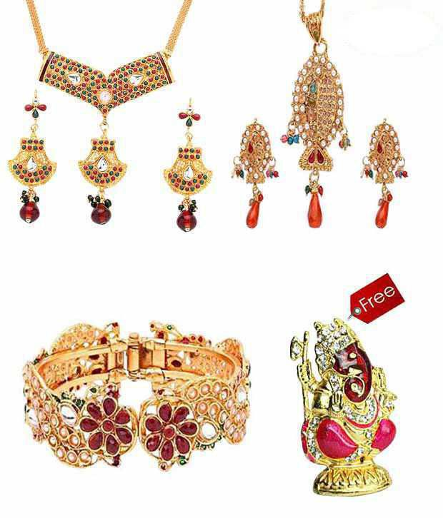 Vendee Fashions Colourful Jewellery Combo With Free Idol
