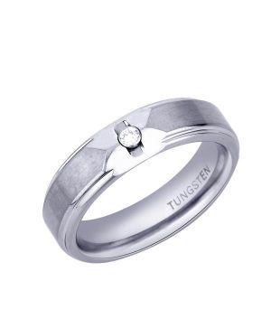 Peora Cubic Zircon Silver Tungsten  Ring