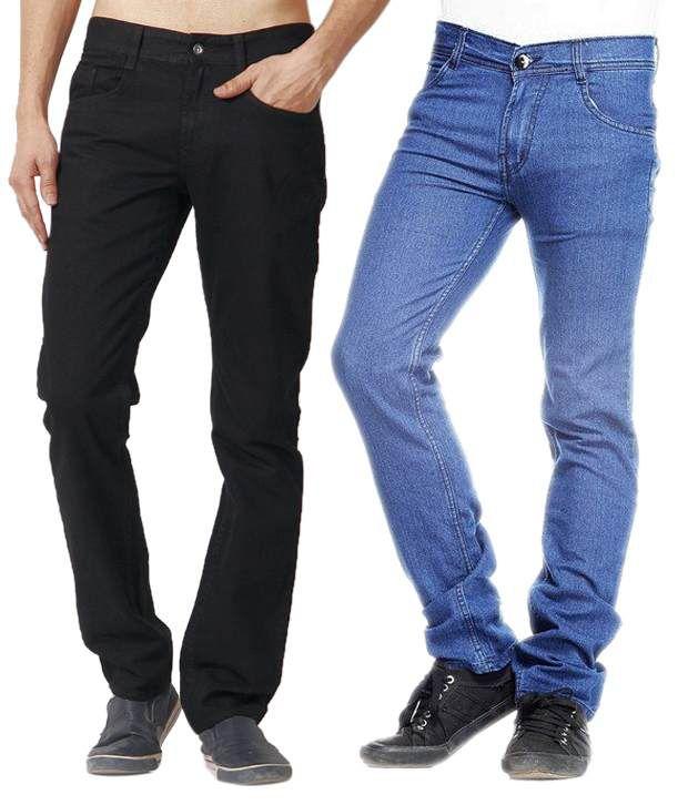 Poaster Pack of 2 Elegant Black-Blue Jeans