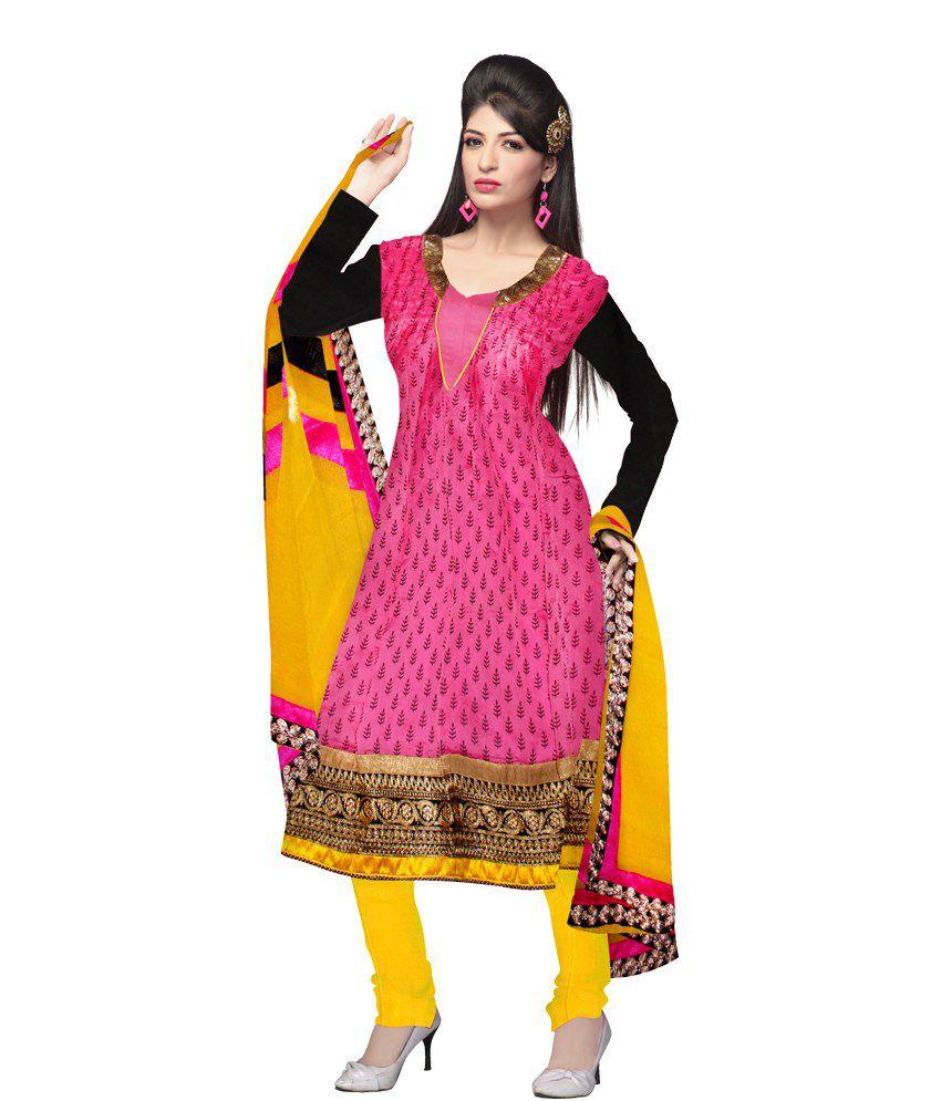 Unnati Silks Semi-Stitched Pink And Yellow Chanderi Sico Dress Material