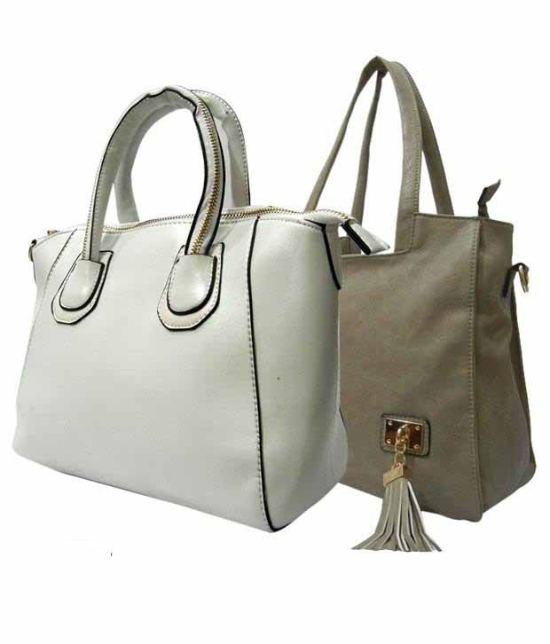 1 to All Bags Effulgence White Grey Bags Combo