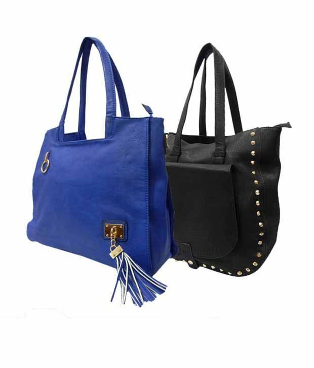 1 to All Bags Pristine Bright Blue Black Bags Combo
