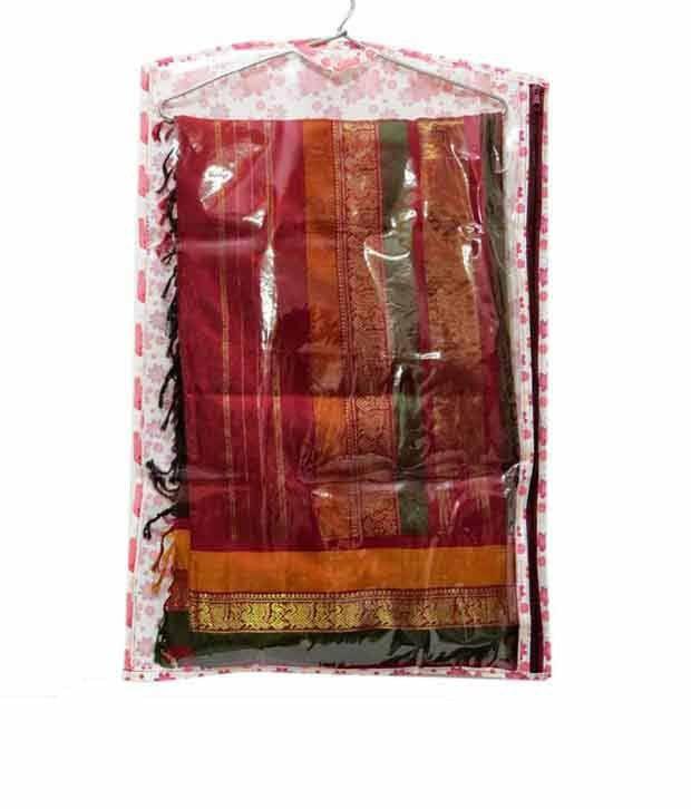 A-Maze Pink Floral Hanging Saree Cover - Set of 3 Pcs