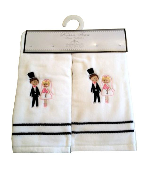 Bride And Groom Embroidered Hand Towels Wedding Shower Gift Bridal
