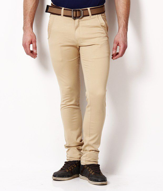 British Terminal Offwhite Slim Fit Trousers