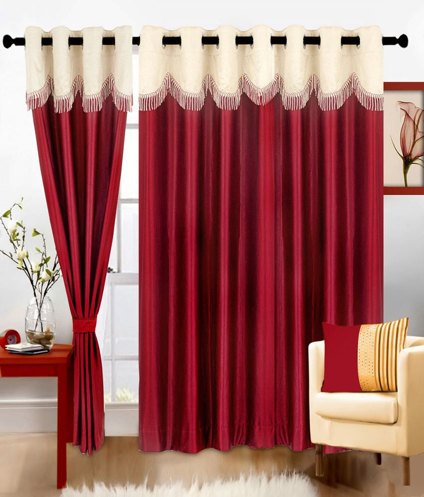 Cortina Set Of 2 Door Eyelet Curtains Solid Red Buy