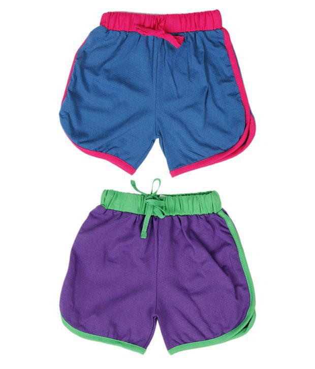 Robinbosky Chic Purple and Blue Combo of 2 Shorts For Kids