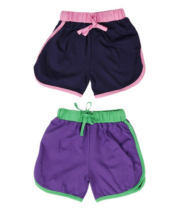 Robinbosky Trendy Navy and Purple Combo of 2 Shorts For Kids