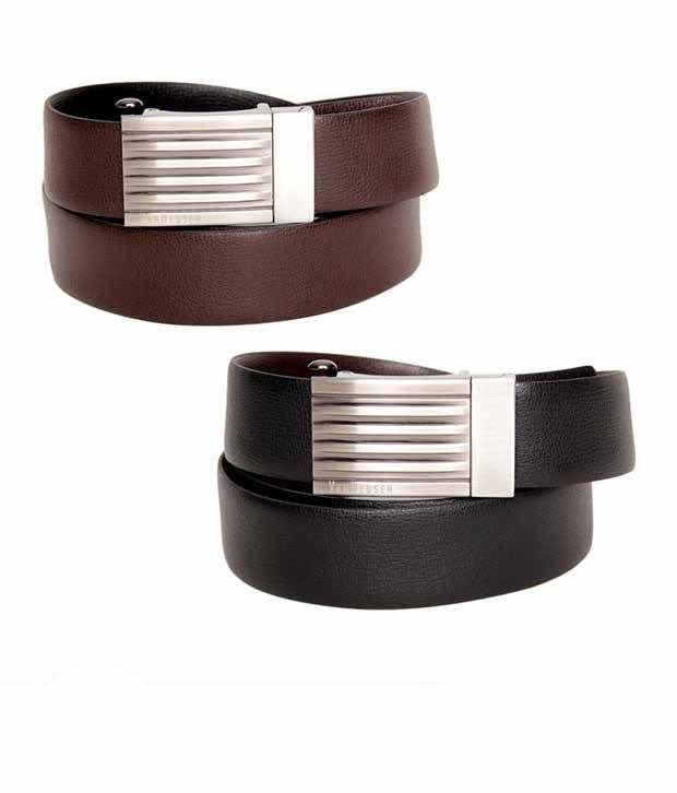 Van Heusen Black & Brown Textured Reversible Belt
