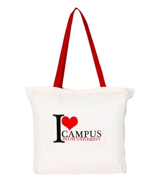 Satrangee Campus White Tote Bags