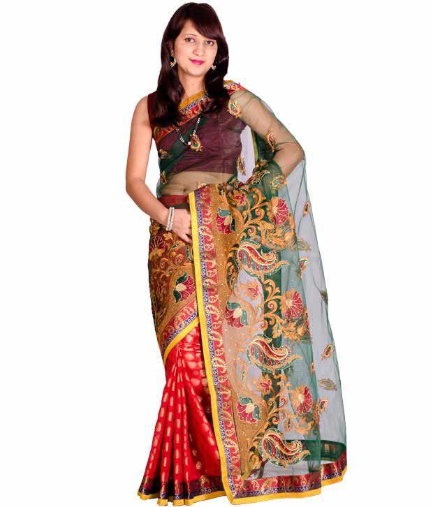 Chandrakala Green Chanderi Saree