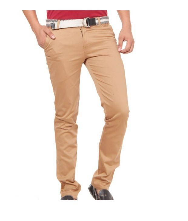 Harvest Classic Mist Brown Stretchable Chinos with Free Earphones