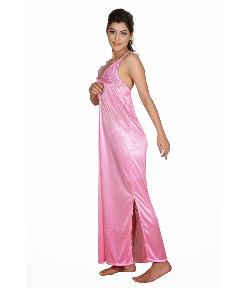 Buy Myra Pink Poly Satin Nighty Online at Best Prices in India ... 9c955d299