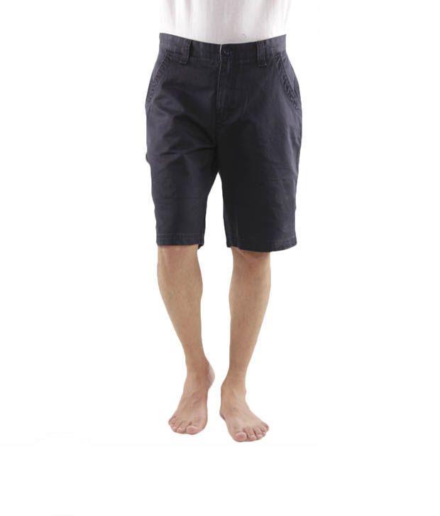 Wills Lifestyle Navy Blue Bermuda Shorts