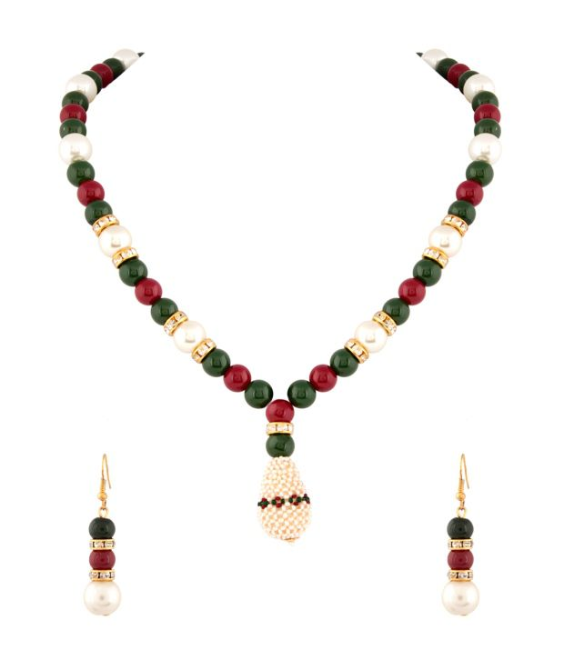 Voylla Adorable Pearl And Beaded Necklace Set