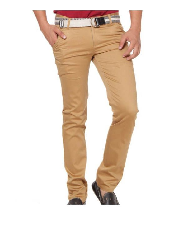 Harvest Casual Mist Brown Stretchable Chinos with Free Earphones