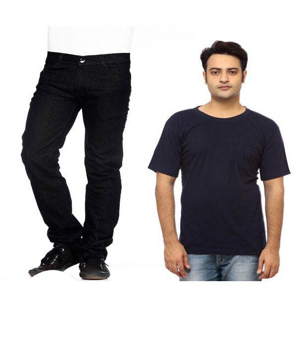 NX Pack of 1 Black Jeans & 1 Black T Shirt With Free Wallet