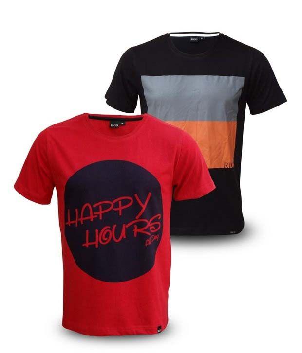 Rigo Black-Grey & Red Pack of 2 T-shirts
