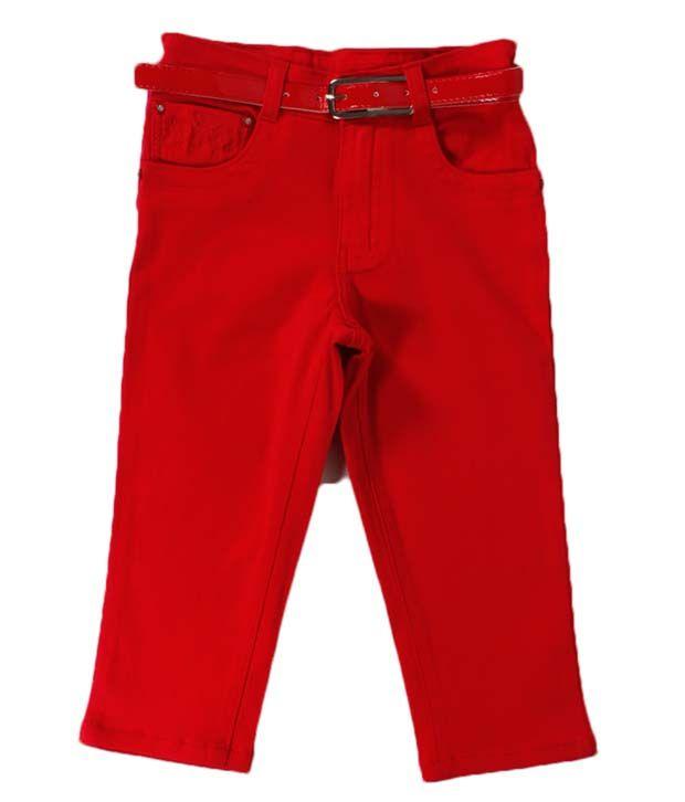 Vine Red Capri For Kids