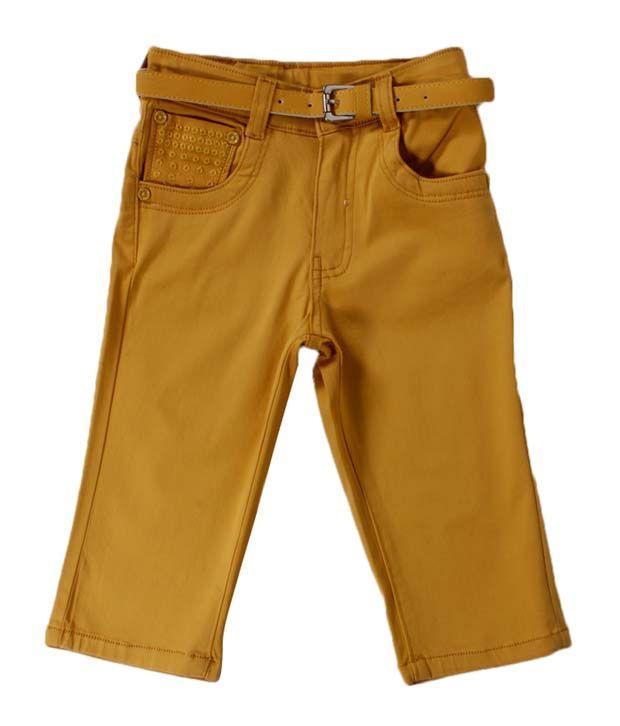 Vine Yellow Capri For Kids