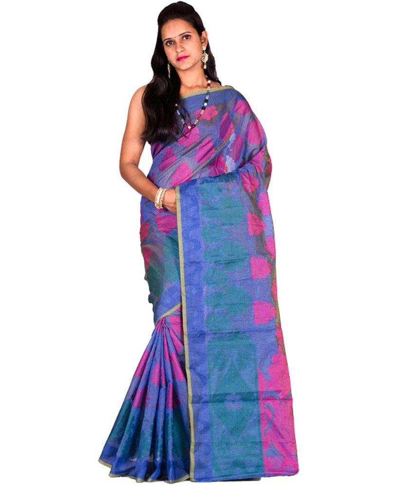 Chandrakala Elegant Blue Cotton Silk Pure Banarasi Saree